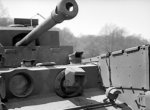 Close-up of the flame projector of a Churchill Crocodile tank during trials at Eastwell Park, Ashford, Kent, England, United Kingdom, 26 Apr 1944