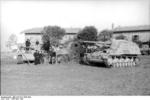 German Tiger I heavy tank and Hornisse/Nashorn tank destroyer in Italy, Apr-May 1944; note disabled American M4 Sherman medium tank between them