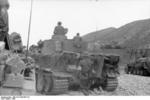 German Tiger I heavy tank and SdKfz. 251 halftrack vehicle in Tunisia, 1943