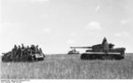 German troops at Kursk, Russia, summer 1943; note Tiger I heavy tank and StuG III gun