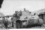 German tankers replacing a damaged track on a Panzer VI Tiger I heavy tank, Kursk, Russia, Jun-Jul 1943
