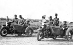 Chinese Army RL 45 motorcycles with side cars, date unknown