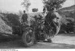 German troops and R75 motorcycle deployed in support of the Gran Sasso raid to free Benito Mussolini, Abruzzo, Italy, 13 Sep 1943
