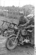 German paratroopers with R75 motorcycle, Italy, 1943-1944; note MG 34 machine gun mounted on the side car