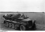 German troops in a SdKfz. 10 half-track vehicle on the Eastern Front, Jun 1941