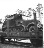 German SdKfz. 7 half-track vehicle on a rail car, Peenemünde, Germany, 1937