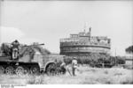 German SdKfz. 7 half-track vehicle with 3.7 cm gun in front of the Castel Sant