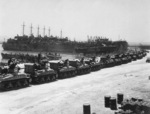 M4 Sherman tanks being loaded onto LSTs for Operation Husky, Pêcherie, Bizerte, Tunisia, 7 Jul 1943