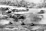 Sherman tanks of US 6th Marine Division at Naha, Okinawa, Japan, 27 May 1945