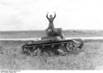 Russian tanker surrendering his T-26 light tank, Aug 1941