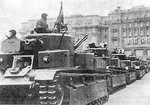 Soviet T-28 medium tanks on parade, 1930s