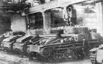 T-28 medium tanks under construction, Kirov Plant, Leningrad, Russia, 1930s
