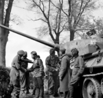 Men of the UK 6th Airborne Division greeting the crew of a Russian Army T-34/85 tank near Wismar, Mecklenburg-Vorpommern, Germany, 3 May 1945