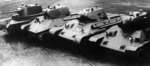 Russian tanks A-8 (BT-7M), A-20, T-34 Model 1940, and T-34 Model 1941, date unknown