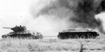 T-34 armored recovery vehicle (ARV) towing a disabled tank at the Battle of Kursk, Russia, Jul 1943