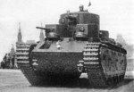 Second prototype of T-35 heavy tank on parade, 1930s
