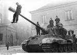 German and Hungarian soldiers on a Tiger II tank, Budapest, Hungary, Oct 1944