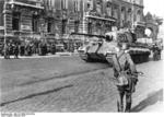 German troops and Tiger II heavy tank on a Budapest street, Hungary, Oct 1944, photo 1 of 2