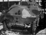 Front view of Japanese Type 1 Ho-Ha armored half-track vehicle, circa 1944