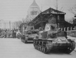 Type 92 Jyu-Sokosha tankettes on parade, date unknown