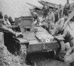 Type 94 Te-Ke tankette being unloaded onto dry land after crossing a river, date unknown