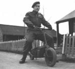Sergeant Gordon Davies of Canadian 1st Parachute Battalion on a Welbike in Bulford, Wiltshire, England, United Kingdom, 5 Jan 1944