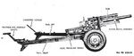 Illustration of 105 mm Howitzer M2A1 on Carriage M2A1 as seen in US War Department technical manual TM-9-1325, Sep 1944, 3 of 6
