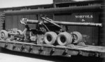 155mm Gun M1 arriving by rail at Hampton Roads Port of Embarkation, Newport News, Virginia, United States, 6 Aug 1943