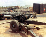 M114 howitzer of C Battery, 5th Battalion, US 42nd Artillery Regiment at Fire Suppor Base Thu Thua, Vietnam, date unknown, photo 2 of 2