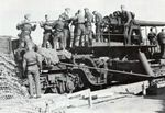 15 cm K (E) railway gun and its crew, date unknown, photo 1 of 2