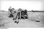 German troops with a 15 cm NbW 41 launcher, Russia, fall 1943, photo 1 of 4