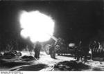 21 cm Mrs 18 heavy howitzer firing at night, Soviet Union, Jan-Feb 1944