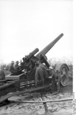 German 21 cm Mrs 18 heavy howitzer at Bodø, Norway, fall 1943, photo 2 of 3