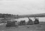 Abandoned Japanese Type 96 25mm anti-aircraft mounts at Waingapu, Dutch East Indies, 25 Feb 1949