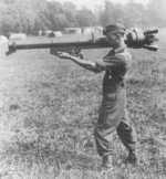 British soldier with a 3.45 in RCL Mk I recoilless rifle, date unknown