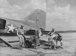 Unloading a 37 mm Gun M3 from a transport aircraft, Fort Bragg, North Carolina, United States, Sep 1942
