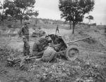 Men of US 5th Cavalry Regiment studying a captured Soviet M-42 anti-tank gun, Waegwan, Korea, early 1950s