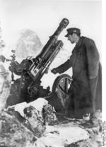 German Army 7.5 cm Gebirgsgeschütz 36 mountain gun operating at 3,000-meter altitude in the Caucasus Mountains in southern Russia, 21 Jan 1943