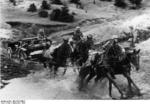 Horses employed by the German Army towing a 7.5 cm le.IG 18 infantry gun, Poland, Sep 1939