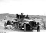 SdKfz. 10 half-track vehicle towing a 7.5 cm Pak 40 anti-tank gun, Russia, Jun 1944