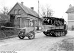 7.5 cm PaK 40 being towed by a tracked vehicle, Northern France, Oct 1943