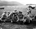 US Army gun crew preparing to fire a 37mm sub-caliber mounted on a 75mm field howitzer during range practice, Sanskeid Range, Iceland, 20 Jun 1943; note M8 carriage