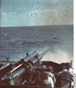 German gunboat crew practice firing with a 8.8cm gun off Yalta, Russia (now Ukraine), circa 1942