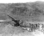 M115 howitzer and crew of US 17th Field Artillery Battalion, north of Chunchon, Korea, 9 Apr 1951