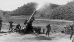 M115 howitzer of 17th Field Artillery Battalion, US 45th Infantry Division firing, north of Yonchon, Korea, 27 May 1952