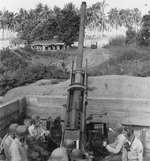 Men of US Marine Corps 3rd Defense Battalion operating a 90mm M2 Anti-Aircraft Gun, Guadalcanal, Solomon Islands, 1942