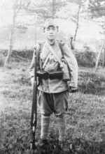 Japanese Army soldier with Arisaka Type 38 rifle, date unknown