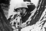 Polish infantryman with a Browning wz. 28 automatic rifle during the Polish Army summer maneauvers of 1938