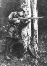 Polish Home Army fighter of the Jedrusie unit wielding a Browning wz. 1928 automatic rifle, 1940s