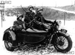 Men of Polish 10th Motorized Cavalry Brigade, 1938; note Browning wz. 1928 automatic rifle mounted on side car of Sokól 1000 motorcycle